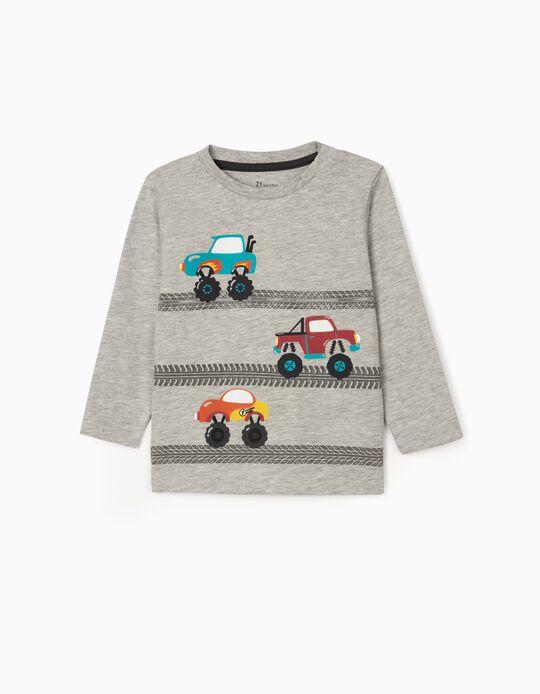 T-shirt Manga Comprida para Bebé Menino 'Trucks', Cinza