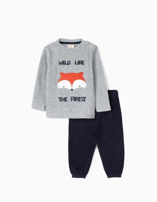 Pijama Polar para Bebé Niño 'Wild', Gris/Azul Oscuro