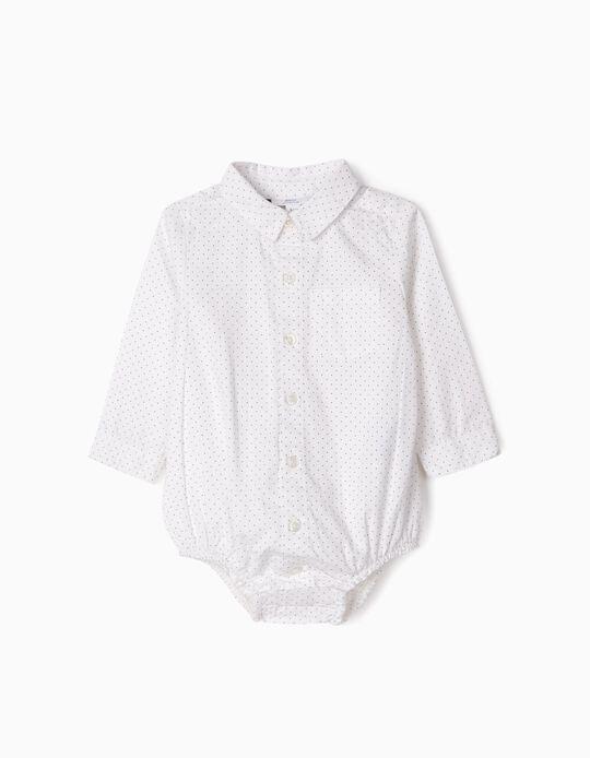 Body Camisa para Recién Nacido 'Lunares', Blanco