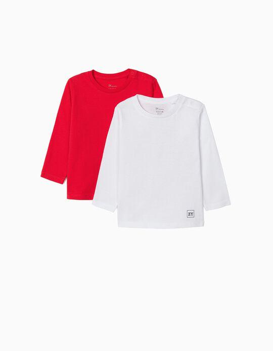 2 T-shirts Manga Comprida para Bebé Menino, Branco/Vermelho