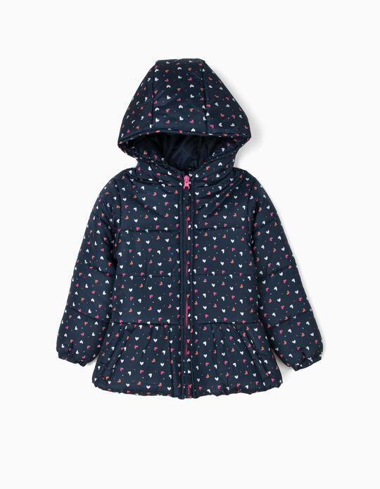 Blusão Acolchoado com Capuz para Menina Corações, Azul Escuro