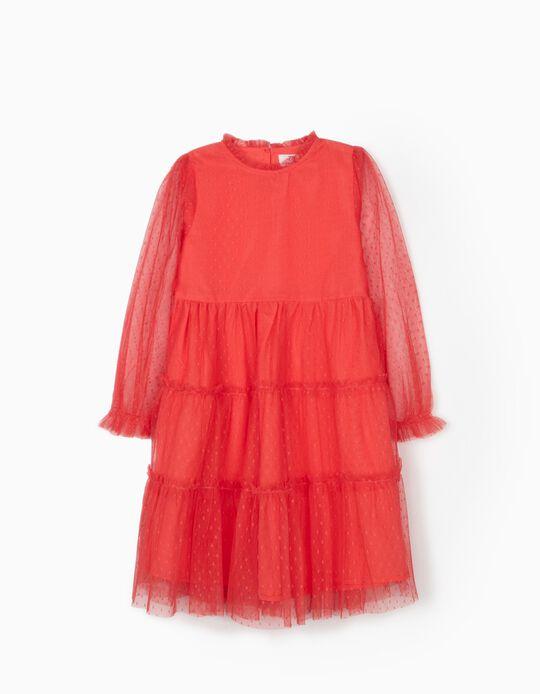 Vestido de Tul Plumetis para Niña, Rosa