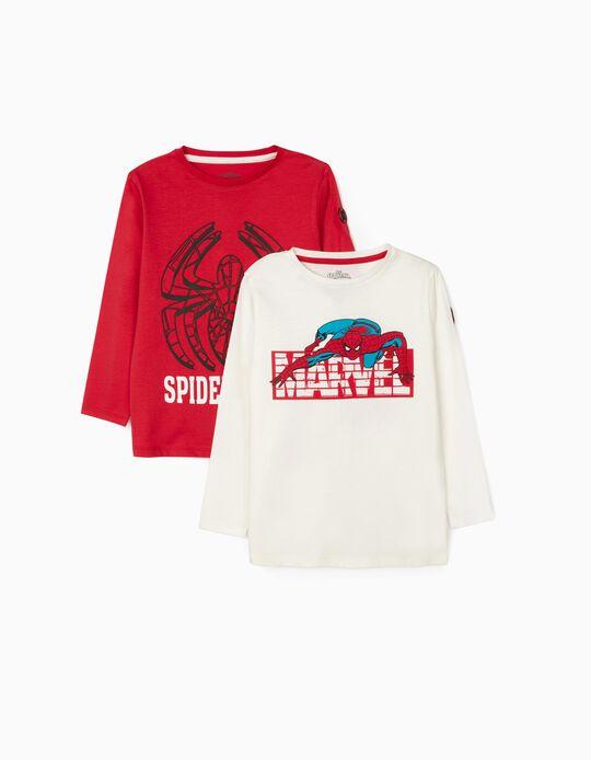 2 T-Shirts de Manga Comprida para Menino 'Marvel', Branco/Vermelho