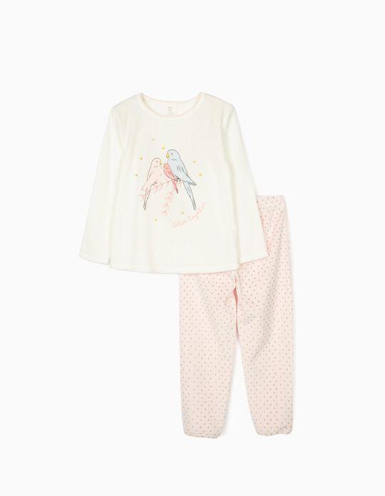 Pijama de Terciopelo para Niña 'Birds', Blanco/Rosa