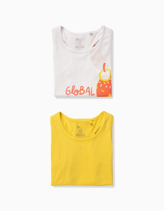 2-Pack Tank Tops for Girls 'Ice Cream', White and Yellow