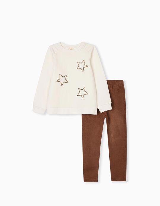Sweatshirt + Leggings para Menina, Branco/Castanho