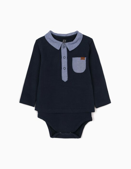 Polo Shirt Bodysuit with Pocket for Newborn Baby Boys, Dark Blue