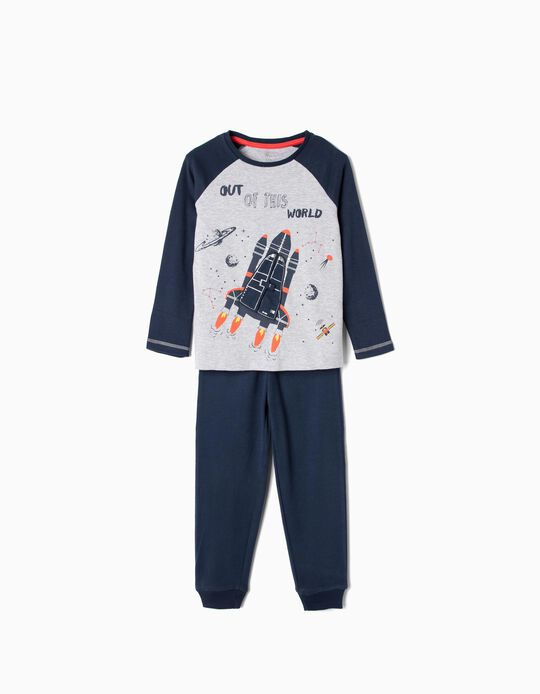 Pijama para Menino 'Out of This World', Azul Escuro e Cinza