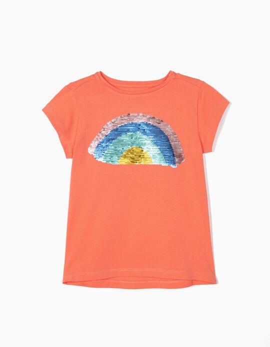 T-shirt para Menina com Lantejoulas Reversíveis, Laranja
