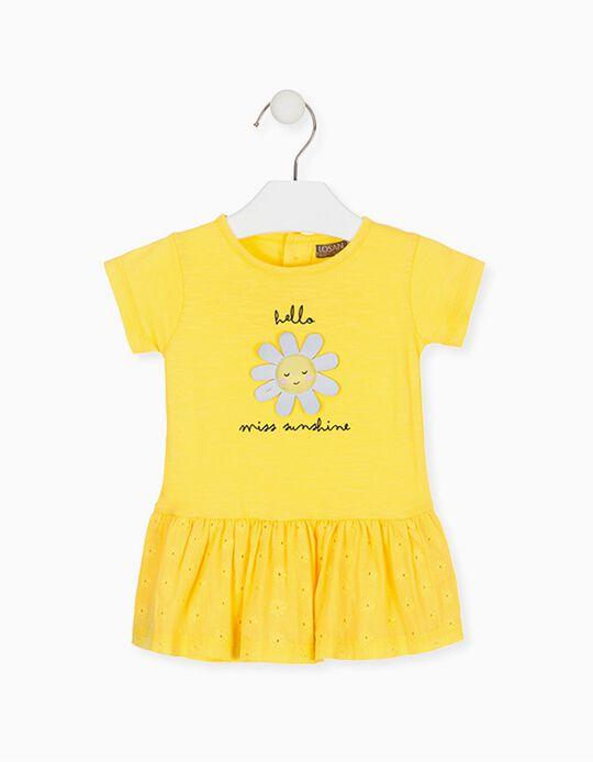 Vestido Combinado para Bebé Menina LOSAN, Amarelo