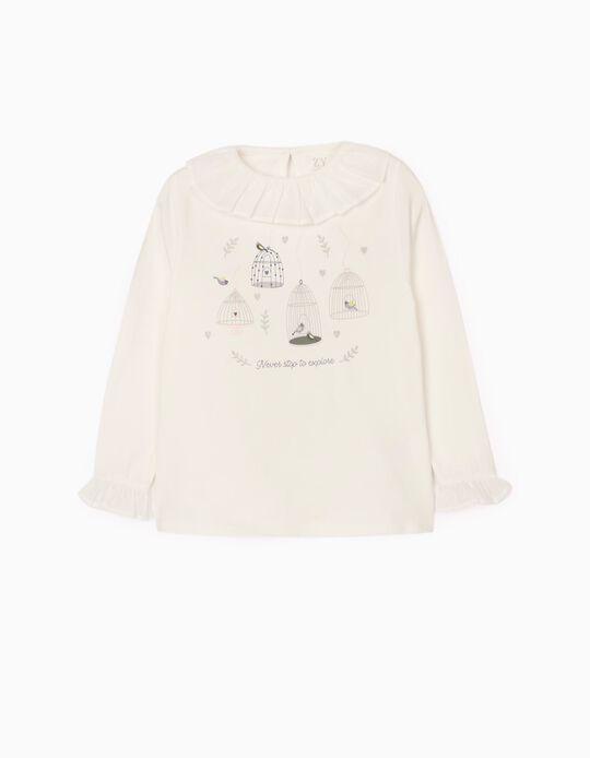T-Shirt Manga Comprida para Menina 'Explore', Branco