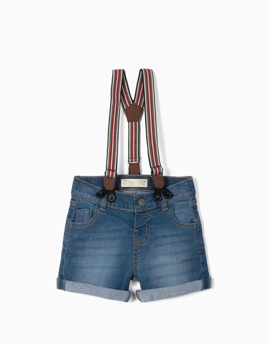 Denim Shorts with Suspenders for Baby Boys, Blue
