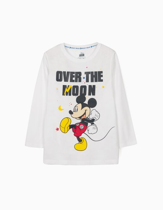 Camiseta de Manga Larga para Niño 'Mickey Moon', Blanca