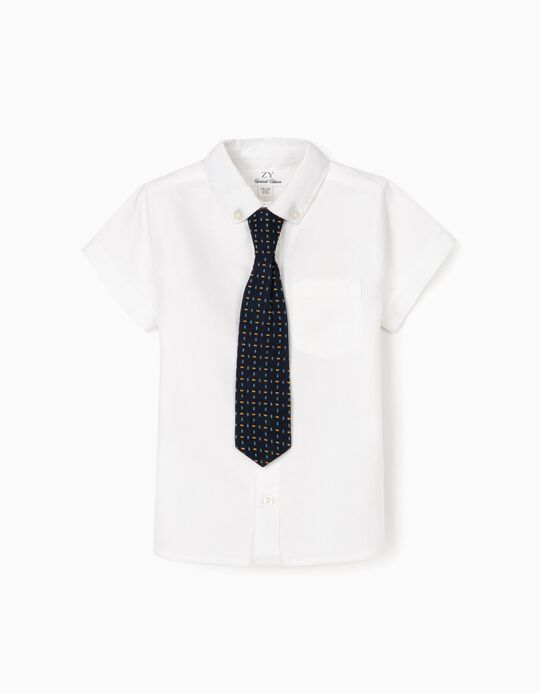 Camisa Manga Corta con Corbata para Bebé Niño, Blanca