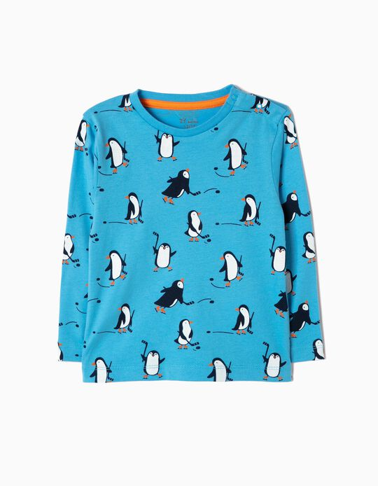 Camiseta de Manga Larga Pingüinos Azul