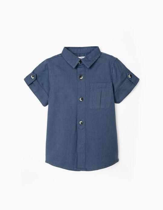 Short Sleeve Shirt for Baby Boys, Dark Blue