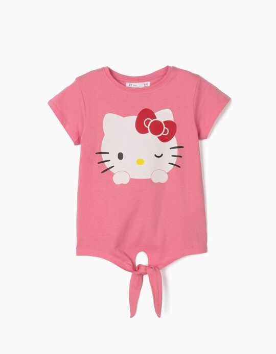 T-shirt with Knot on the Front, for Girls, 'Hello Kitty', Pink