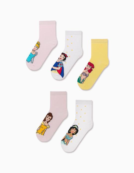 5 Pairs of Socks for Girls, 'Disney Princess', Yellow/Pink/White