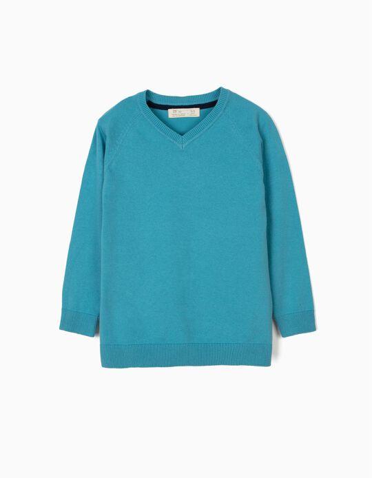Camisola de Malha para Menino, Azul Claro