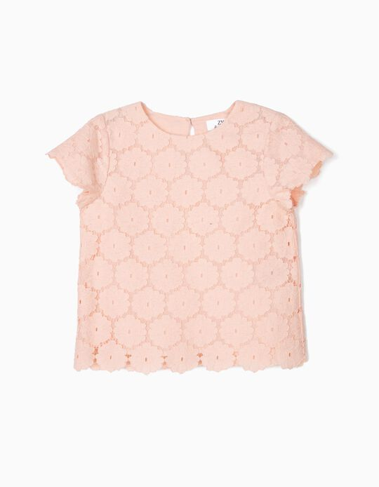 Blouse for Girls 'Lace & Flowers', Pink