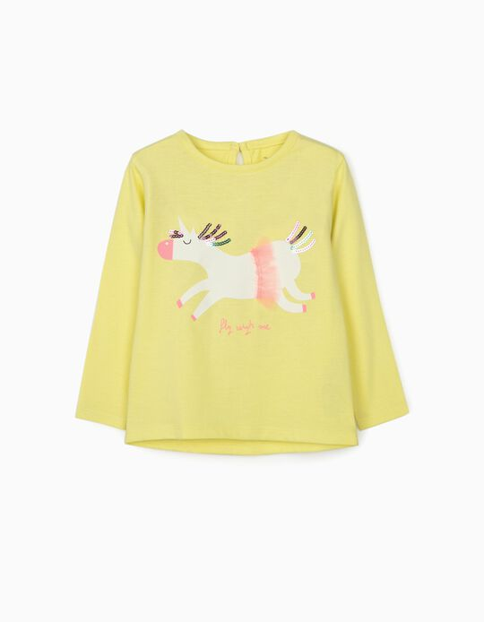 Long Sleeve Top for Baby Girls 'Unicorn', Lime Yellow