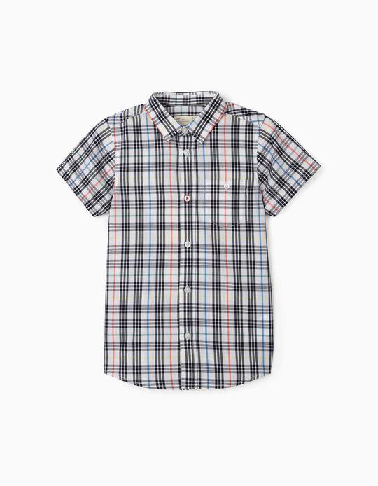 Camisa Manga Curta Xadrez para Menino, Branco/Azul