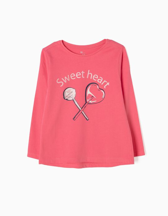T-shirt Manga Comprida Sweetheart Rosa
