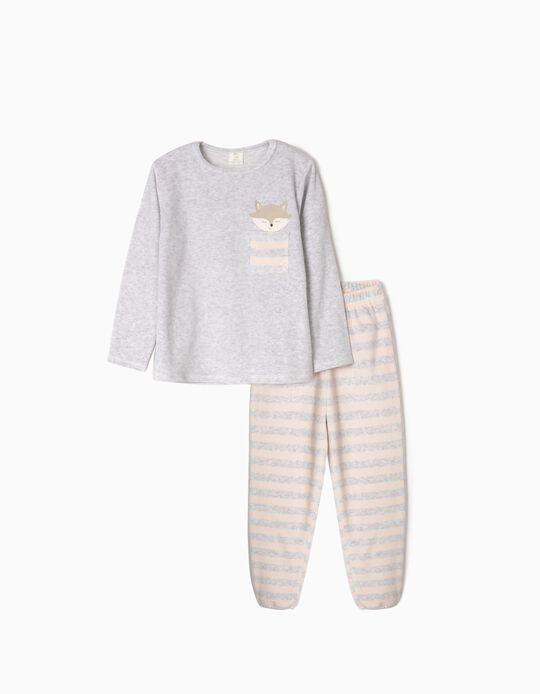 Pijama de Terciopelo para Niña 'Cute Fox', Gris/Rosa Claro