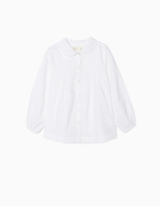 Shirt with Little Pleats for Girls, White