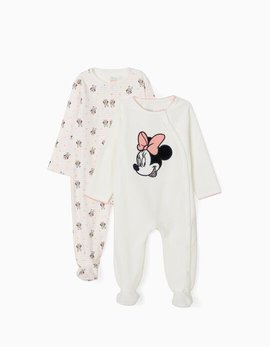 2 Sleepsuits for Baby Girls, 'Minnie', White/Pink