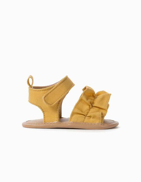 Frilly Sandals for Newborn Baby Girls, Yellow