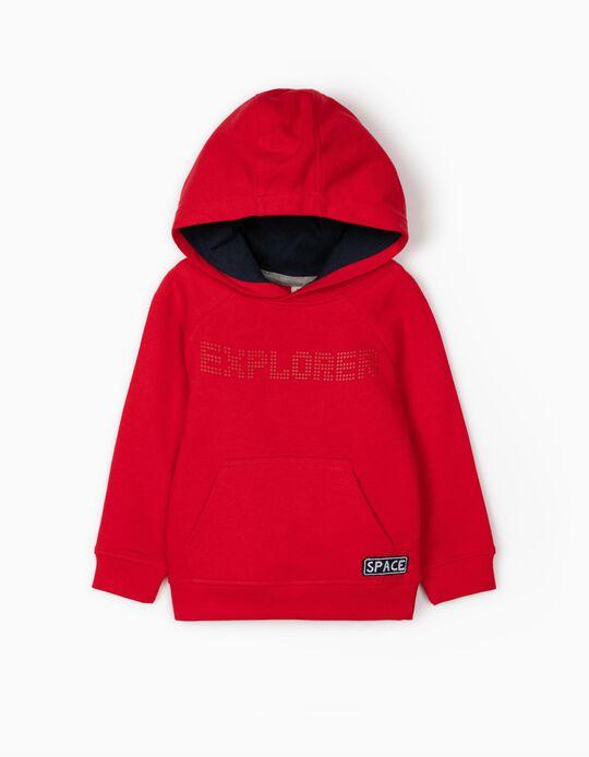 Hooded Sweatshirt for Baby Boys 'Explorer', Red