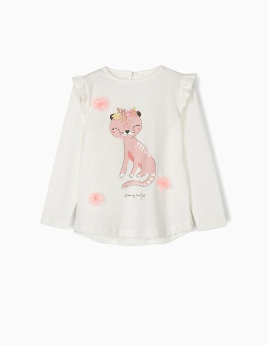 Camiseta de Manga Larga para Niña 'Strong and Fast', Blanca
