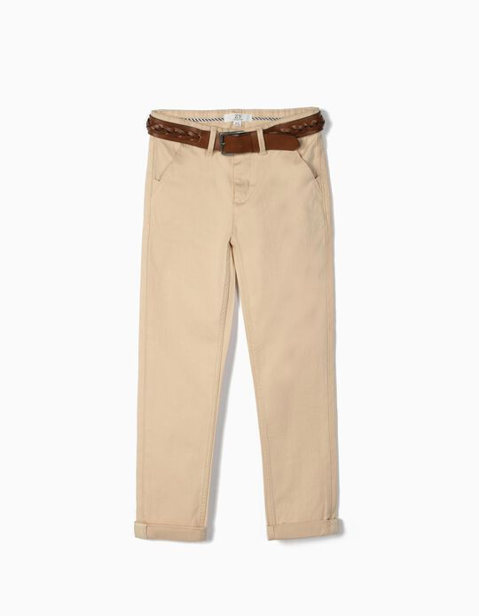 Chinos with Belt, for Boys, Beige