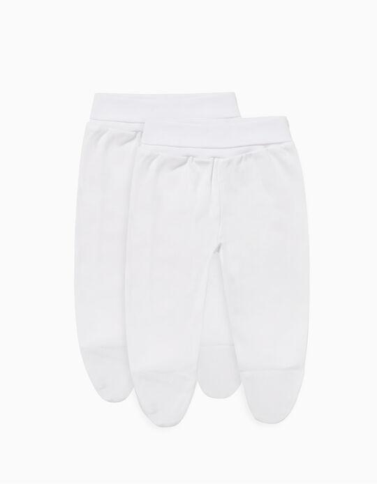 Lot de 2 Pantalons à pieds Nouveau-né, Blanc