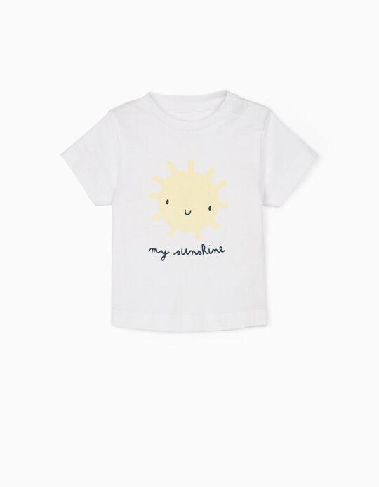 T-shirt for Newborn Baby Boys, 'My Sunshine', White