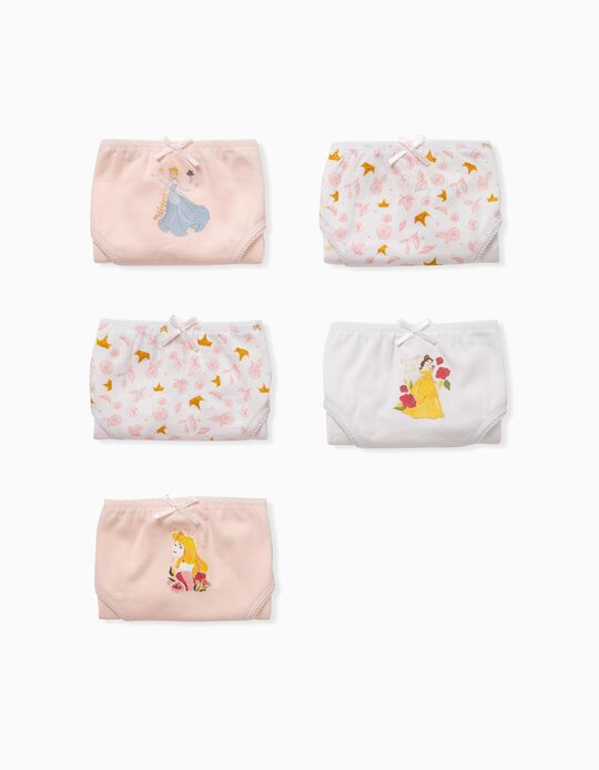 5 Briefs for Girls 'Disney Princess', Pink/White