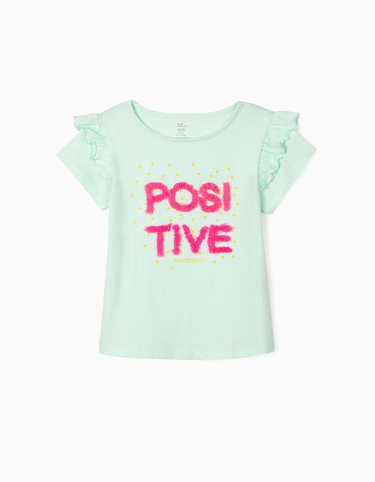 T-shirt para Menina 'Positive', Azul Claro