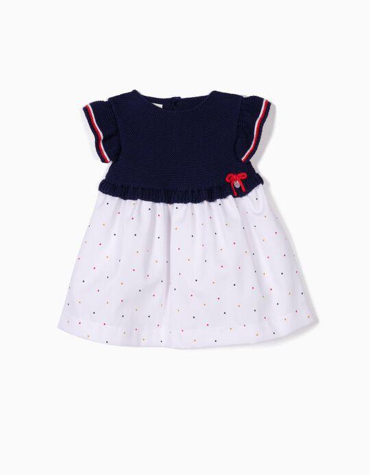 Vestido de Dos Materias para Recién Nacida, Azul y Blanco