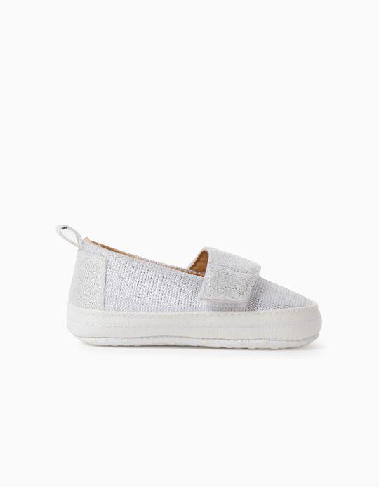 Zapatillas Brillantes para Recién Nacida, Blancas