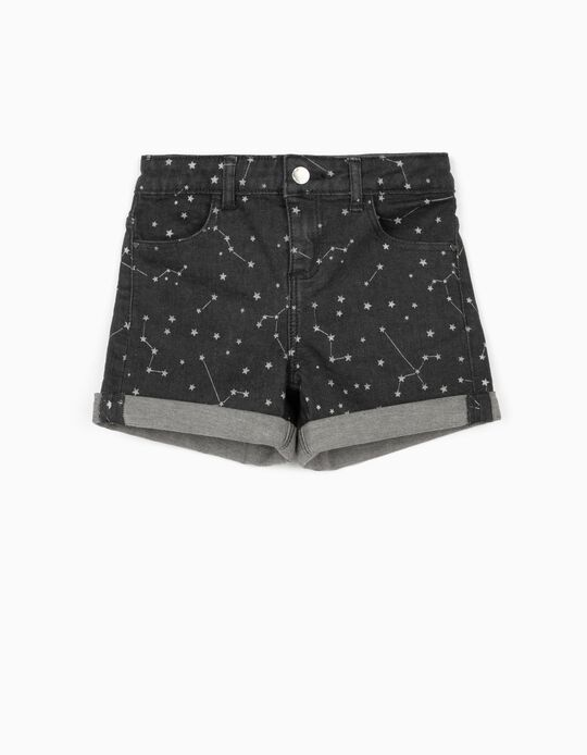 Denim Shorts for Girls, 'Stars', Dark Grey