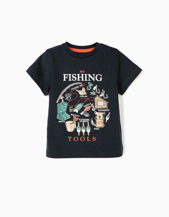 T-shirt for Baby Boys, 'Fishing Tools', Dark Blue