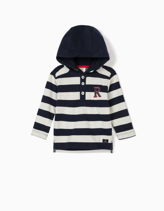 Sweatshirt Piqué com Capuz para Bebé Menino 'R', Azul/Branco
