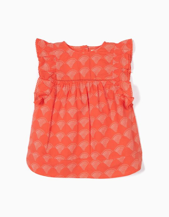 Printed Blouse with Ruffles for Girls, Coral