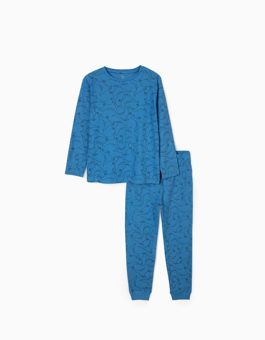 Rib Knit Pyjamas for Boys 'Dinosaurs', Bleu