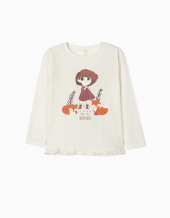 T-Shirt Manga Comprida em Algodão Orgânico para Menina, 'Adventurers', Branco