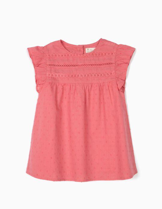 Blusa para Menina 'Swiss Dot', Rosa