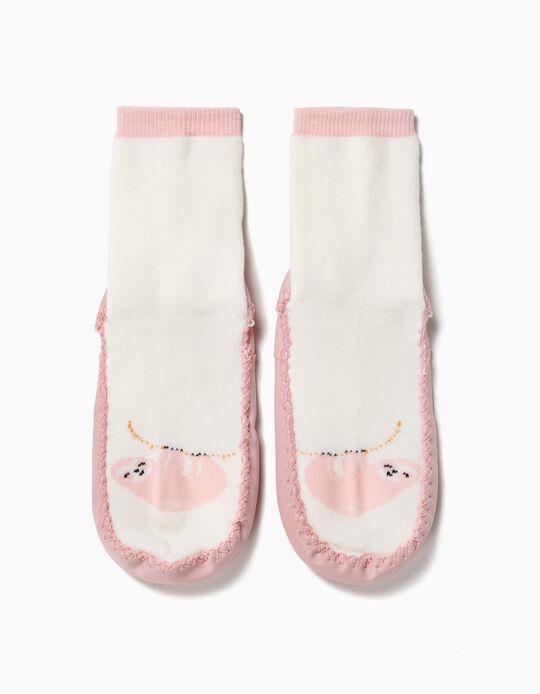 Calcetines Pantuflas Antideslizantes para Niña 'Sloth', Blanco y Rosa