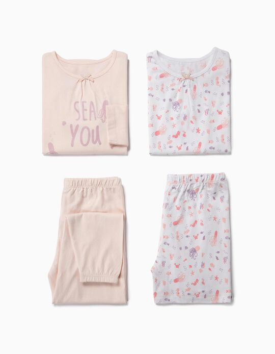 2 Pijamas para Niña 'Sea', Rosa y Blanco