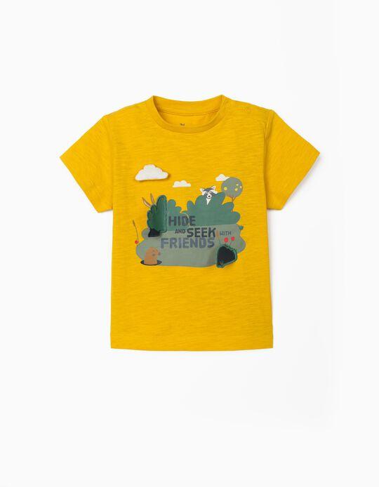 T-shirt para Bebé Menino 'Hide and Seek', Amarelo Torrado